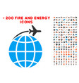 international flight icon with bonus flame clipart vector image