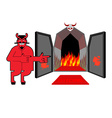 Satan invites sinners to hell Devil indicates hand vector image