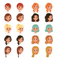 set of different girl s hair styles and colors vector image