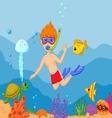 Snorkeling boy cartoon vector image