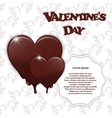 Gift card with chocolate melting hearts Valentine vector image