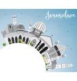 jerusalem skyline with gray buildings blue sky vector image