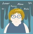lonely negative thinking man cartoon vector image
