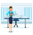Girl in strict clothes with documents in office vector image
