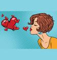 woman making a kiss heart vector image
