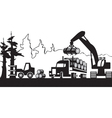 Timber harvesting in the forest vector image