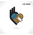 Creative book and heart abstract logo design vector image