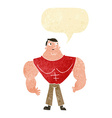 cartoon body builder with speech bubble vector image