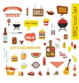 Grill Or Barbecue big Icon set with food and vector image