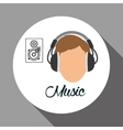 Music design boy icon White background vector image