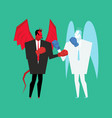fight devil and angel satan and god is boxing vector image