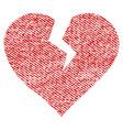 heart break fabric textured icon vector image