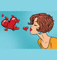 woman making a kiss heart vector image