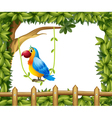 A parrot hanging in a vine plant near the wooden vector image