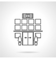 Black flat line icon for hospital vector image