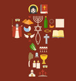 messianic judaism sign and biblical icon vector image