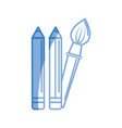 silhouette pencils and art paint brush tool vector image