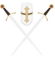 Templar swords and helmet vector image