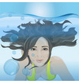 the girl swims under the water vector image