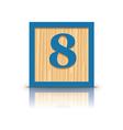 number 8 wooden alphabet block vector image