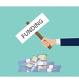 funding investment money stack cash with hand vector image