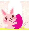 happy Easter bunny carrying egg vector image