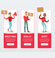 meeting rally riot banners set angry men vector image