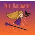 Postcard Hello Halloween vector image