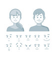 set of different emotions girl and men in cartoon vector image