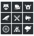 Set of Viking Icons Warrior Ship vector image