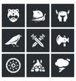 Set of Viking Icons Warrior Ship vector image