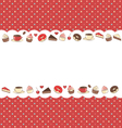 Sweets frame on red in dots vector image