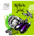 Eco food menu background Watercolor and hand drawn vector image vector image