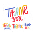 Collection of four custom colorful Thank you word vector image