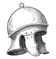 Roman legionnaires helmet engraving vector image vector image