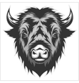 Bison mascot head Black and white vector image