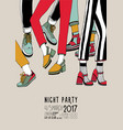 night party hand drawn colorful poster with vector image vector image