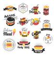 fast food hand drawn logos vector image