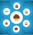 flat cake set of cupcake muffin doughnut and vector image