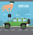 rent a car concept with hand holding auto key vector image