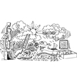 Open door doodles vector image