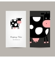 Business cards design with funny cow vector image