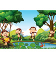 Four monkeys by the pond vector image vector image