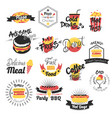 fast food hand drawn logos vector image