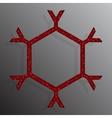 Frame Red Sequins Snowflake Glitter Sparkle vector image