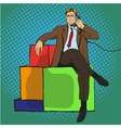man sitting on gift vector image
