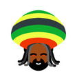 rastaman avatar rasta cap and dreadlocks sign vector image