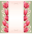 Romantic spring background with tulips vector image