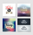 set of merry christmas and happy new year 4 vector image