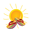 sun with flip flop art vector image